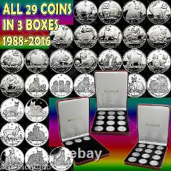 1988-2016 COMPLETE SET 29 Isle of Man Copper Nickel CAT COINS in (3) Mint Boxes