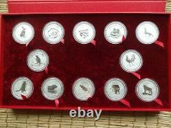 1999-2010 Perth Mint Silver 1oz. Lunar Series 1 Complete Set WithPerth Mint Case