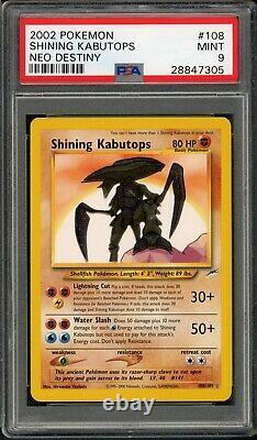 2002 Pokemon Neo Destiny COMPLETE PSA 9 HOLO SHINING SET #106-113 CHARIZARD