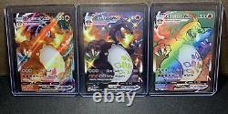 Charizard VMAX Full Art ALL 3 COMPLETE SET Shiny & Rainbow MINT PSA READY