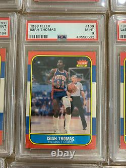 Complete 1986 Fleer Basketball Set With Stickers All PSA 9 New Labels New Slabs