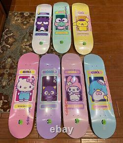Girl x Sanrio 60th Anniversary Hello Kitty Skateboard Deck Complete Set Lot New