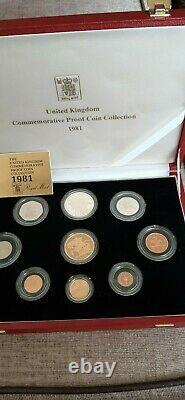 Royal Mint 1981 Gold Proof Five Pound Coin Set £5 -Complete. COA FDC