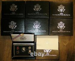 United States Mint 1992-1998 Silver Premier Proof Sets Complete Set Of 7 Sets